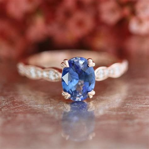 Natural Ceylon Sapphire Ring in 14k Rose Gold Solitaire