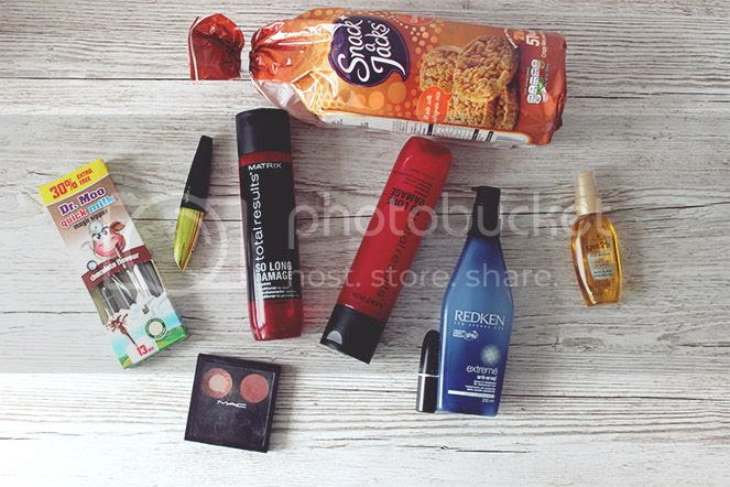 hair and beauty flat lay