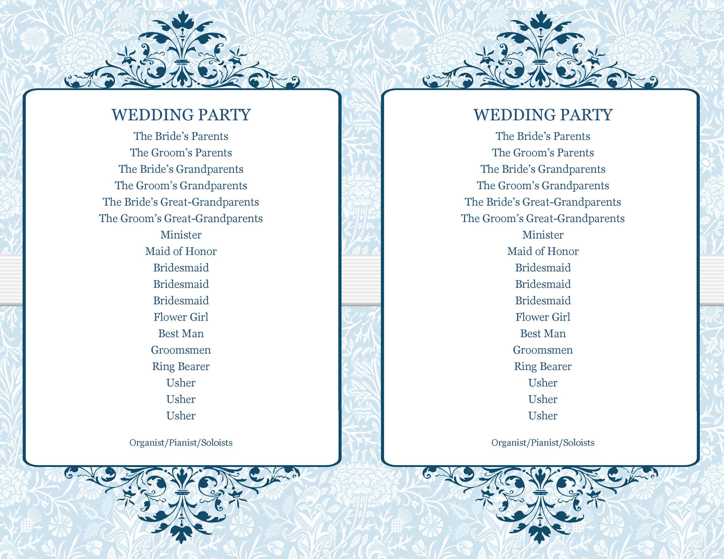 Wedding Idea's Wedding Program Outline