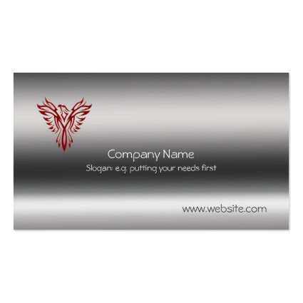 Phoenix in red on metallic-look template business card
