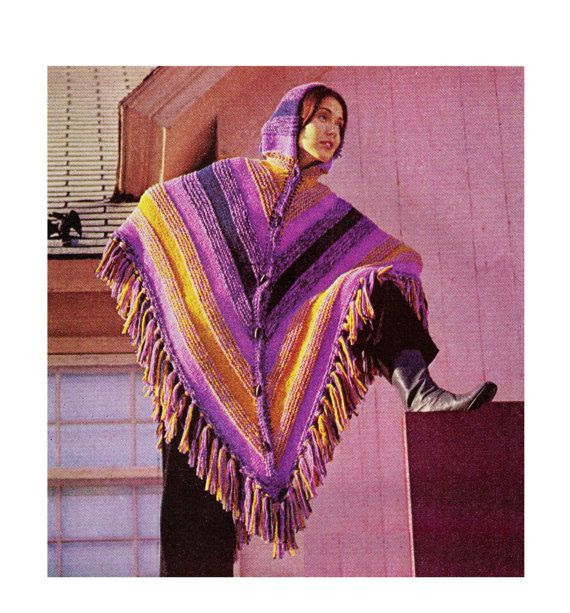 Vintage 70s patrón PDF Encapuchado Poncho de por KinsieWoolShop, $3.20