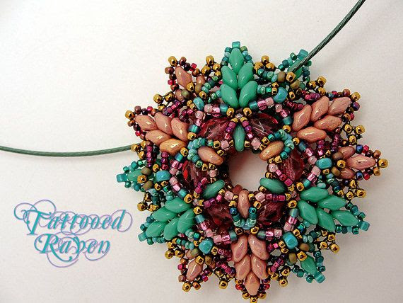 Super Duo Turquoise and Pink Pendant