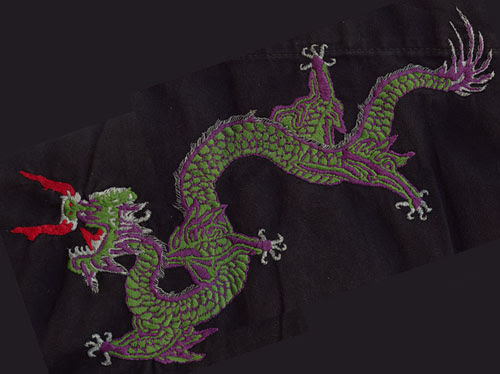 Dragon embroidered on back of kung fu gi