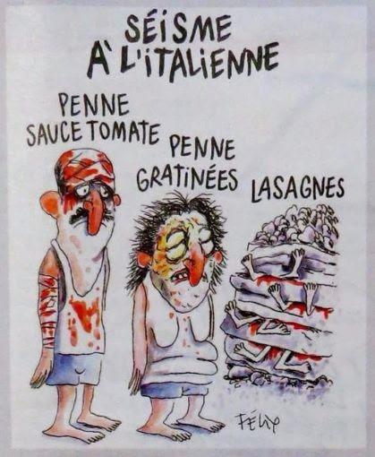 Charlie Hebdo: satira sul terremoto di Amatrice con lasagne e pasta