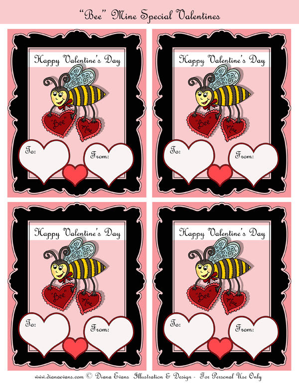 Bee Mine Valentines day cards full page-blog
