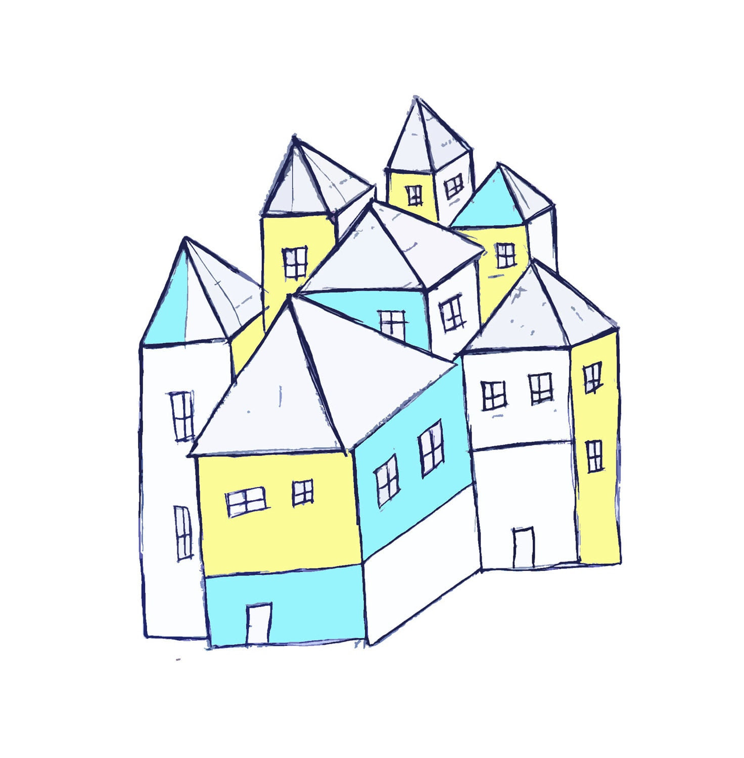 Small houses  - Limited edition print  - Art print - Free shipping - 99heads