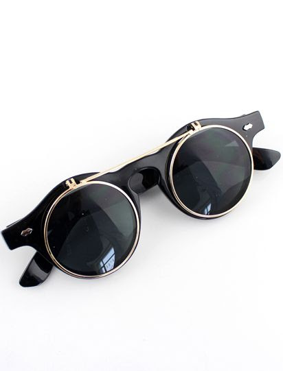 Black Double Layered Sunglasses - Sheinside.com