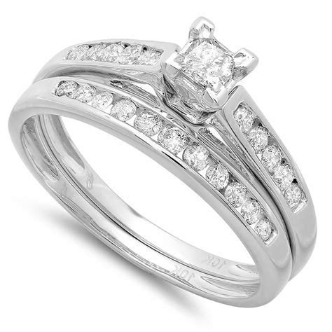 Perfect Cheap Diamond Bridal Ring Set 1 Carat Diamond on