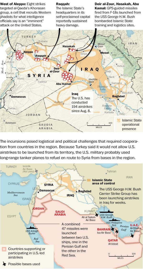Map: U.S.-led airstrikes on the Islamic State and the al-Qaeda Khorasan Group in Syria.