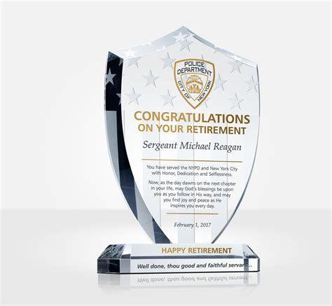 Shield Police Retirement Plaque   DIY Awards