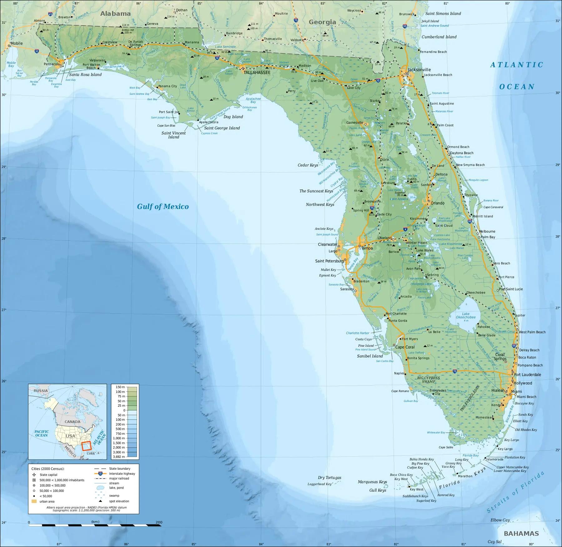 Florida Topographic Map • Mapsof.net