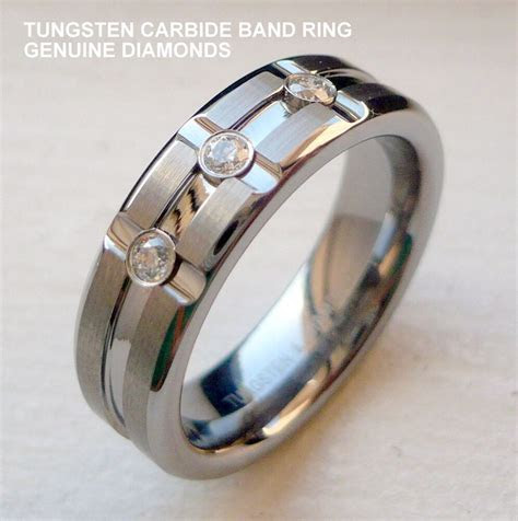 MEN'S 6MM TUNGSTEN CARBIDE BAND RING WITH GENUINE DIAMONDS