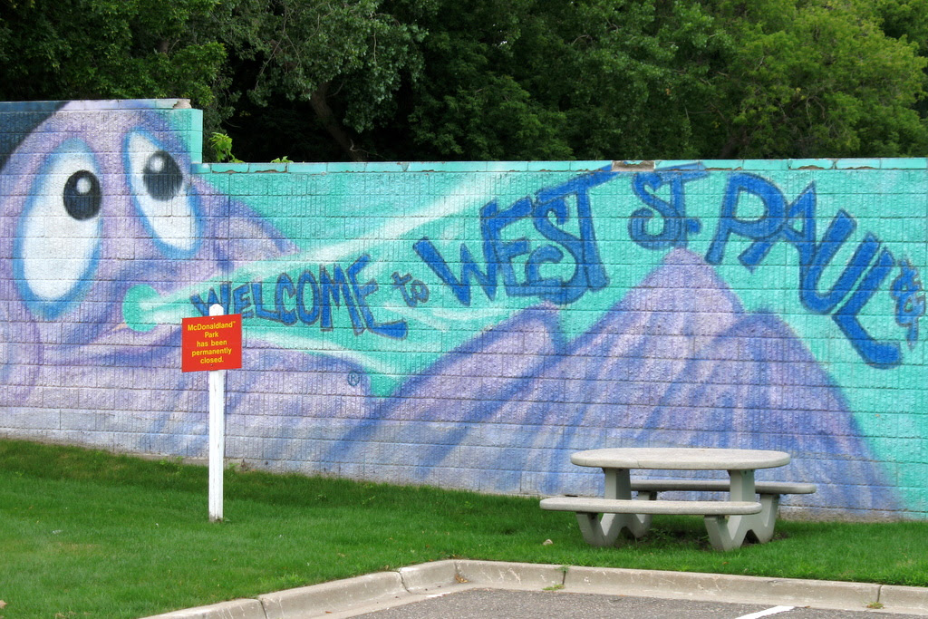 Artwork mural from the old McDonalds play land in West St Paul.