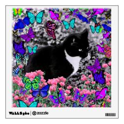 Freckles in Butterflies III, Tux Kitty Cat Room Graphics