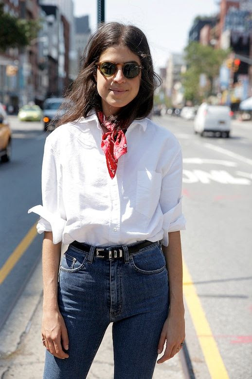 Le Fashion Blog Blogger Style Brown Round Sunglasses Red Bandana Neck Scarf White Button Down Shirt High Waisted Skinny Denim Edgy Belt Via Man Repeller