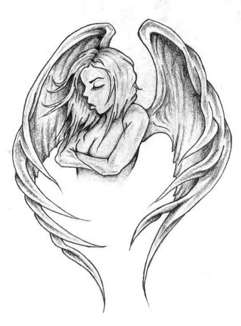 Half Angel Half Demon Drawing At Getdrawingscom Free For Personal