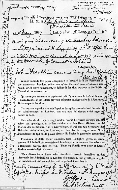 May 1847: The 'All Well' document signed by explorer Sir John  Franklin during the ill-fated expedition to discover the North West  Passage of the Arctic