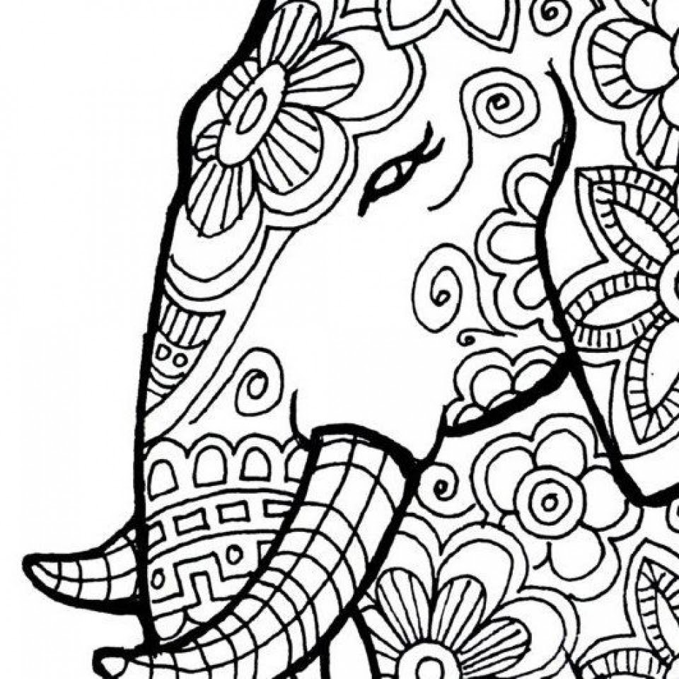 Get This Free Printable Elephant Coloring Pages for Adults ...
