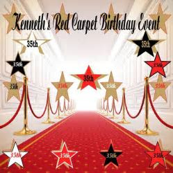 Kenneth's Red Carpet Birthday Event Backdrop Banner 173198