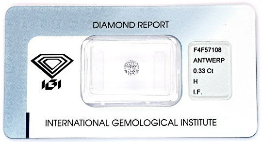 Original-Foto 1, DIAMANT IGI H LUPENREIN EXCELLENT VERY GOOD