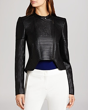 BCBGMAXAZRIA Conrad Faux Leather Striping Moto Jacket