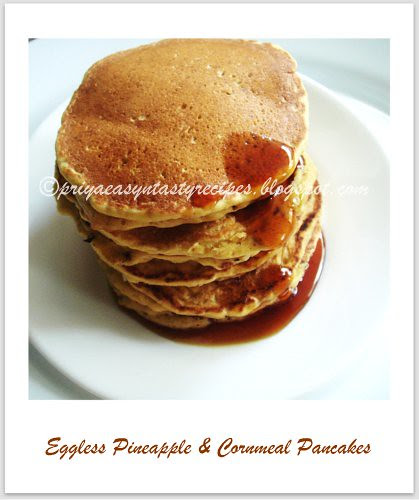 Eggless Pineapple & Cornmeal Pancakes