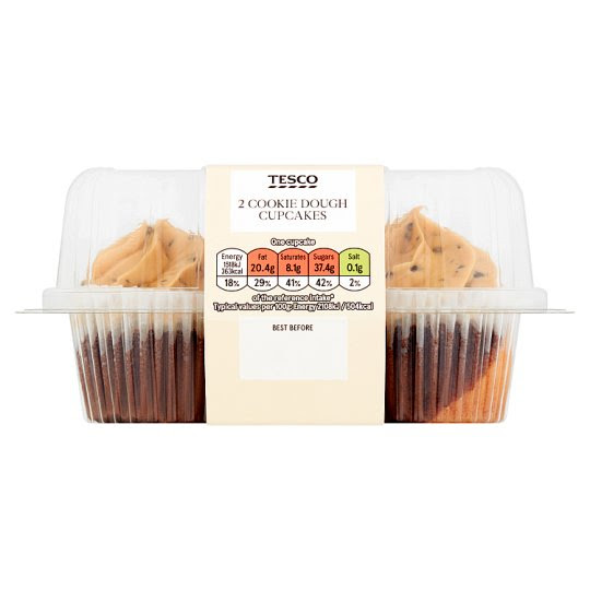 Tesco Twin Pack Cookie Dough Cupcakes