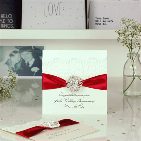 opulence ruby wedding anniversary card by made with love