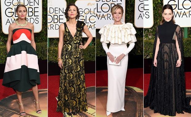 Top 10 Globo de Ouro 2016 - Dividiram opiniões - Olivia Palermo, Maggie Gyllenhaal, Jane Fonda e Emilia Clarke (Foto: AFP)