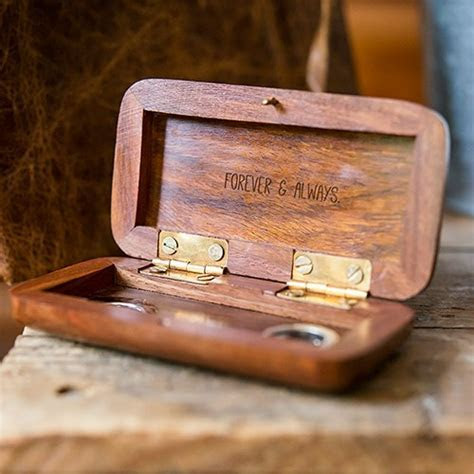 Small Personalised Wooden Ring Jewellery Box  Hand Written