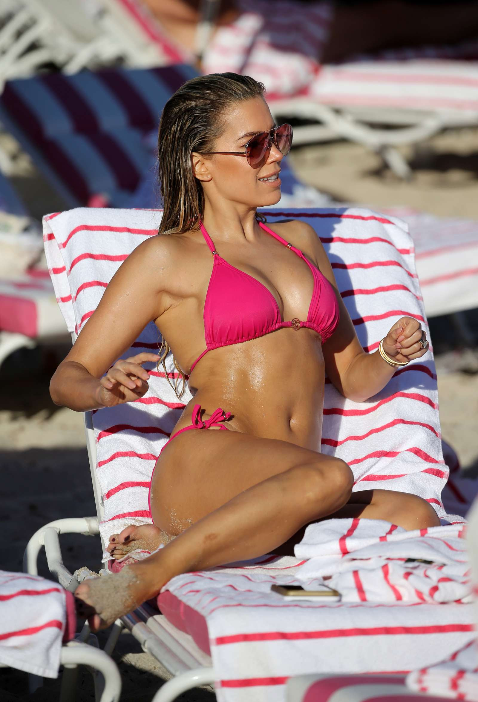 Sylvie Meis in Pink Bikini on the beach in Miami