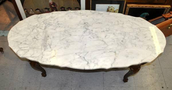 Queen Ann Leg Oval Marble Top Coffee Table - for Sale in ...