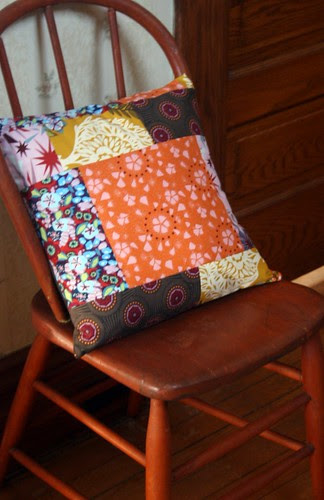 Patchwork scraps pillow