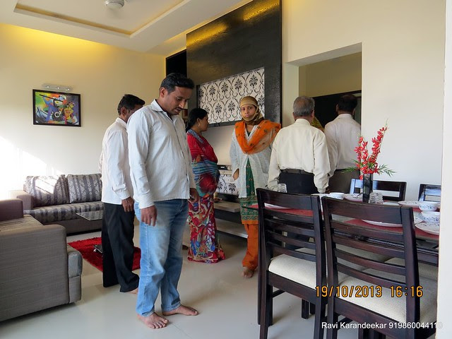 Property Buyers at Dining - Visit 2 BHK Show Flat of Vastushodh Projects' UrbanGram Kolhapur, Township of 438 Units of 1 BHK 2 BHK Flats, behind S. P. Office, near Dream World Water Park, Kolhapur 416003 Maharashtra, India