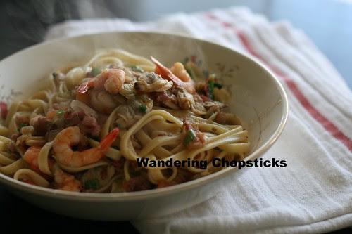 Italian Clam and Shrimp Fettuccine 9