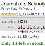 Amazon listing for 'Journal of a Schoolyard Bully' Price: $11.11 'ONLY 11 LEFT IN STOCK'
