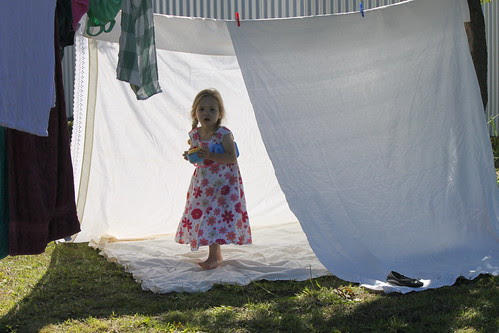 Amelia in the sheet tent