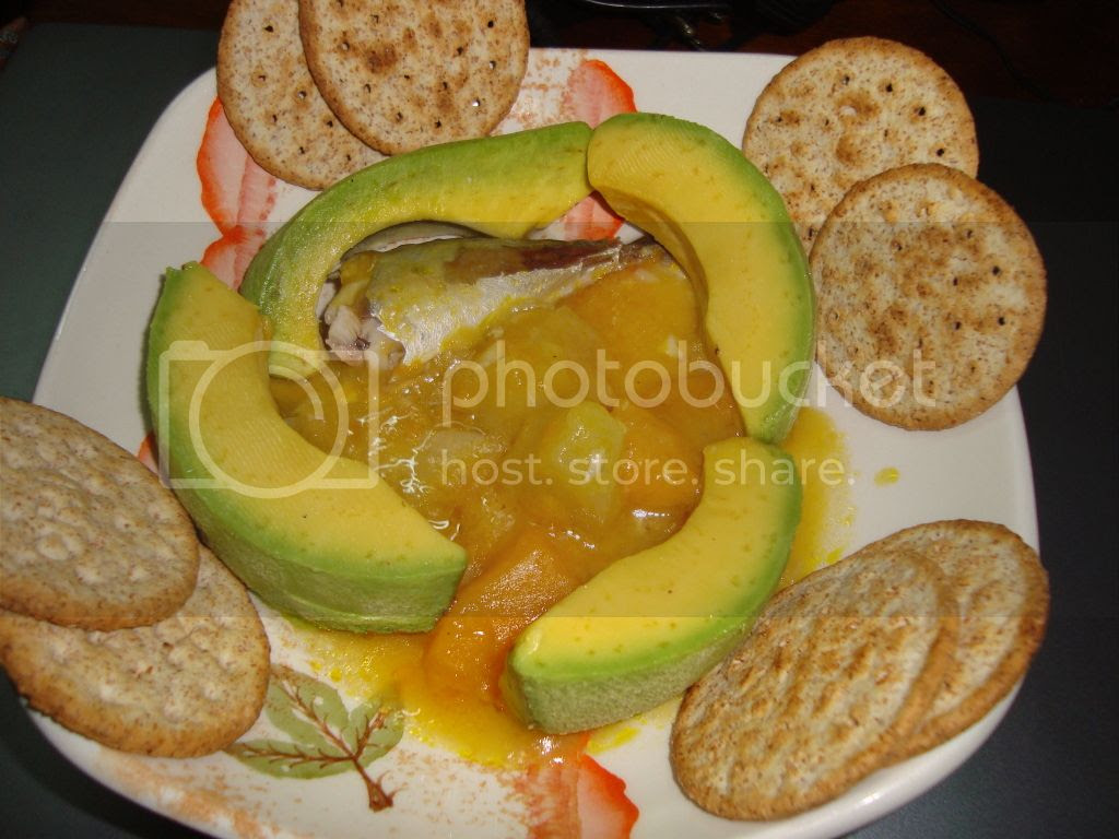 Pumpkin and Christophene(Chayote) with fish, avocado and crackers