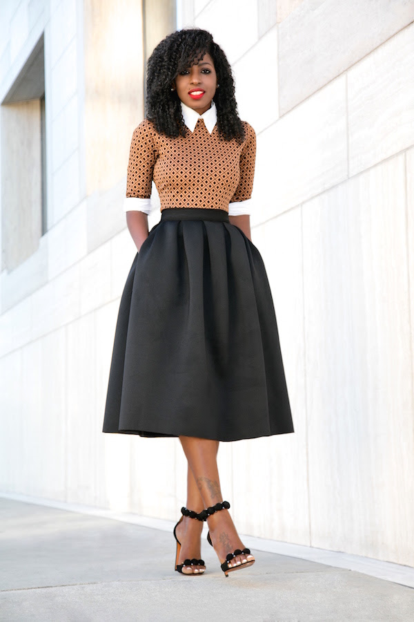 button down shirt  midi dress  full midi skirt  style