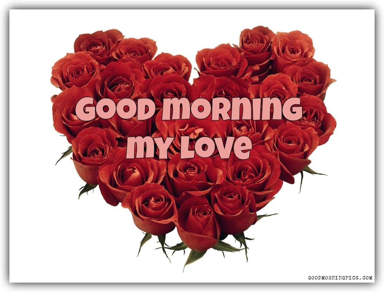 Good Morning My Love Red Roses And Heart Goodmorningpicscom