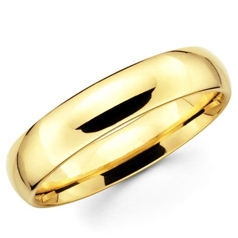 10K Solid Yellow Gold 5mm Plain Men's and Women's Wedding