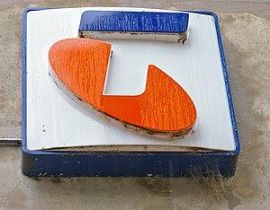 English: Telstra sign on an Telstra Telephone ...