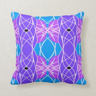 Mod Throw Pillow in Aqua, Magenta and Purple