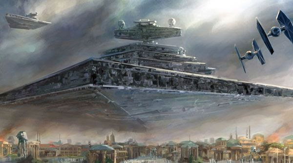 An illustration showing Imperial Forces invading a city that looks like Naboo from the STAR WARS prequels.