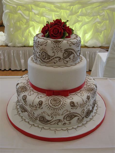 Indian Wedding Cake  Dainty Red & White!   Indian Weddings