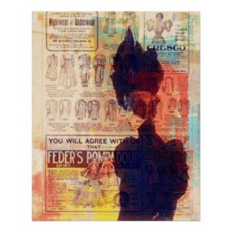 Abstract Art Vintage Woman She Remembers Large Poster