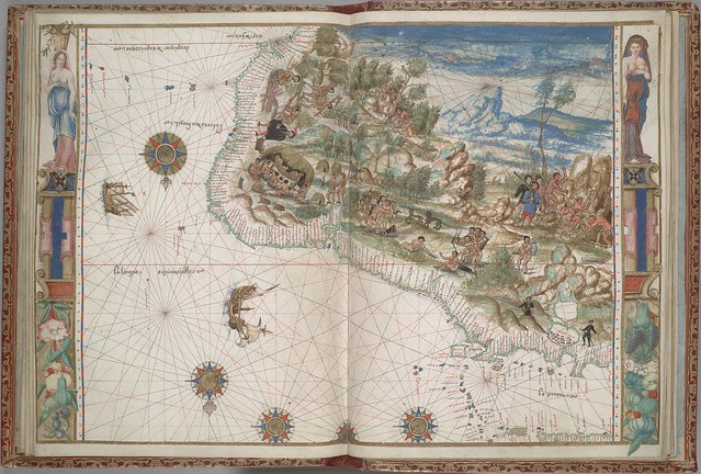 16th c portolan map of NE South America