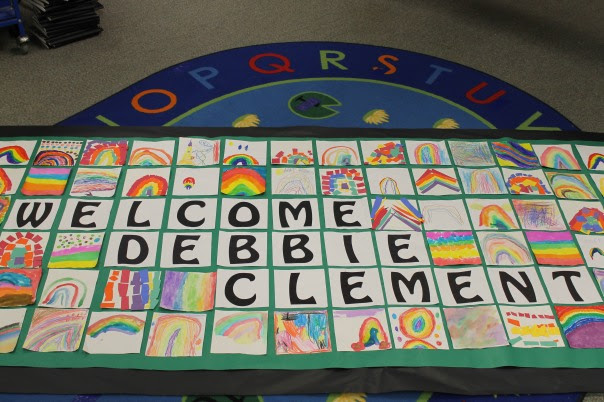 photo of: Bulletin Board Welcome for Debbie Clement