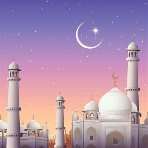 Free vector beautiful mosque with eid mubarak moon Free