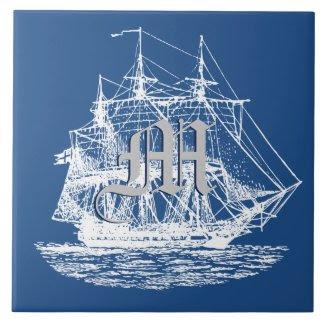 Nautical Sailing Tall Ship Pick Any Color Large Square Tile